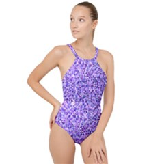 Purple Triangle Background High Neck One Piece Swimsuit