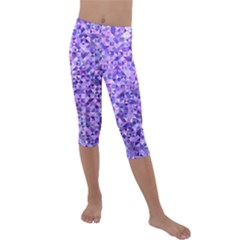 Purple Triangle Background Kids  Lightweight Velour Capri Leggings  by Jojostore