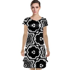 Black And White Pattern Background Structure Cap Sleeve Nightdress