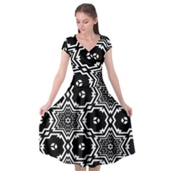 Black And White Pattern Background Structure Cap Sleeve Wrap Front Dress