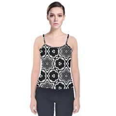 Black And White Pattern Background Structure Velvet Spaghetti Strap Top
