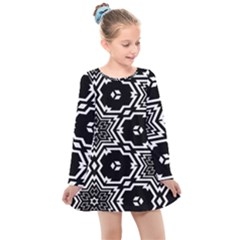 Black And White Pattern Background Structure Kids  Long Sleeve Dress by Pakrebo