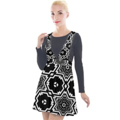 Black And White Pattern Background Structure Plunge Pinafore Velour Dress