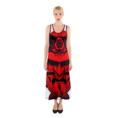 Oni Warrior Samurai Graphics Sleeveless Maxi Dress