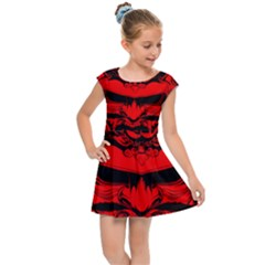 Oni Warrior Samurai Graphics Kids  Cap Sleeve Dress