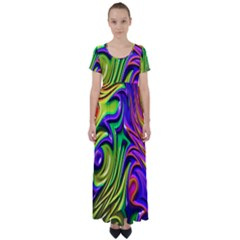 Fractal Mandelbrot Art Wallpaper High Waist Short Sleeve Maxi Dress by Pakrebo