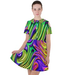 Fractal Mandelbrot Art Wallpaper Short Sleeve Shoulder Cut Out Dress