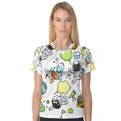 Sketch Cartoon Space V Neck Sport Mesh Tee by Jojostore