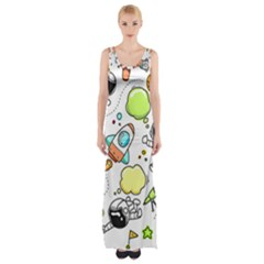 Sketch Cartoon Space Maxi Thigh Split Dress