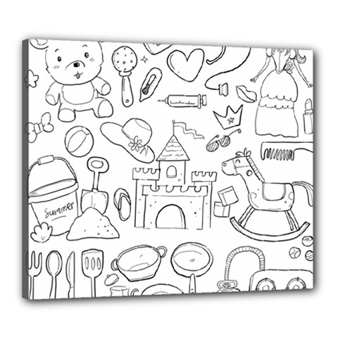 Baby Hand Sketch Drawn Toy Doodle Canvas 24  X 20  (stretched) by Pakrebo