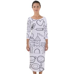 Baby Hand Sketch Drawn Toy Doodle Quarter Sleeve Midi Bodycon Dress