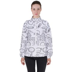 Baby Hand Sketch Drawn Toy Doodle High Neck Windbreaker (women)