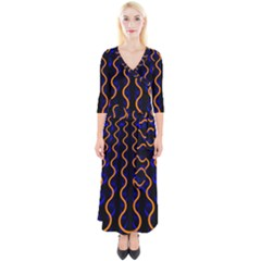 Pattern Blue Waves Quarter Sleeve Wrap Maxi Dress