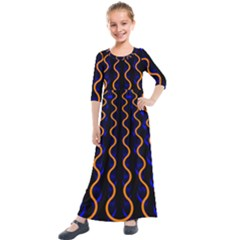 Pattern Blue Waves Kids  Quarter Sleeve Maxi Dress