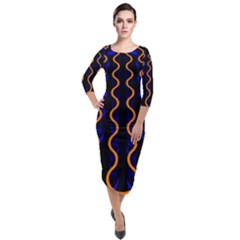 Pattern Blue Waves Quarter Sleeve Midi Velour Bodycon Dress by Jojostore