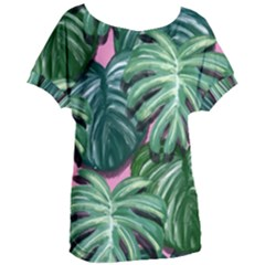 Painting Leaves Tropical Jungle Women s Oversized Tee by Jojostore