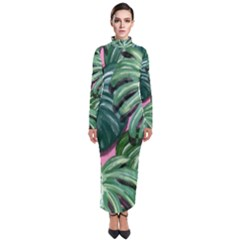 Painting Leaves Tropical Jungle Turtleneck Maxi Dress by Jojostore