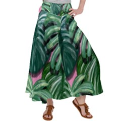 Painting Leaves Tropical Jungle Satin Palazzo Pants by Jojostore