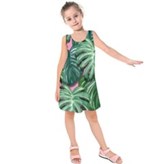 Painting Leaves Tropical Jungle Kids  Sleeveless Dress by Jojostore