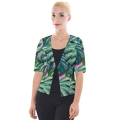 Painting Leaves Tropical Jungle Cropped Button Cardigan