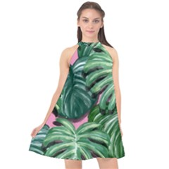 Painting Leaves Tropical Jungle Halter Neckline Chiffon Dress