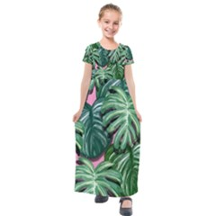 Painting Leaves Tropical Jungle Kids  Short Sleeve Maxi Dress