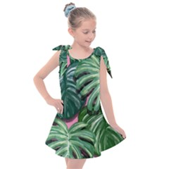 Painting Leaves Tropical Jungle Kids  Tie Up Tunic Dress by Jojostore
