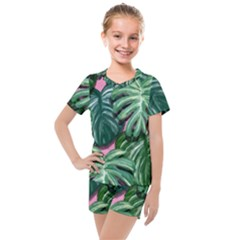 Painting Leaves Tropical Jungle Kids  Mesh Tee And Shorts Set