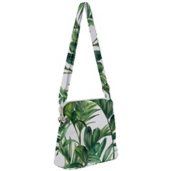 Palm Leaf Zipper Messenger Bag