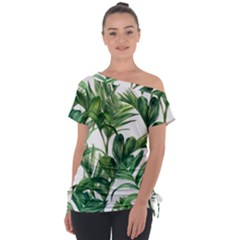 Palm Leaf Tie Up Tee by Jojostore