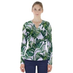 Palm Leaf V Neck Long Sleeve Top