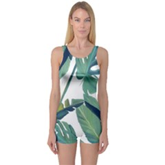 Plants Leaves Tropical Nature One Piece Boyleg Swimsuit