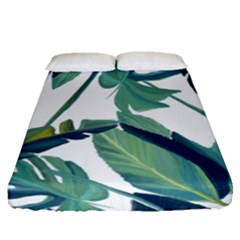 Plants Leaves Tropical Nature Fitted Sheet (queen Size)