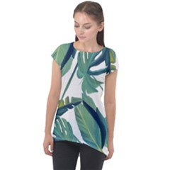 Plants Leaves Tropical Nature Cap Sleeve High Low Top by Alisyart