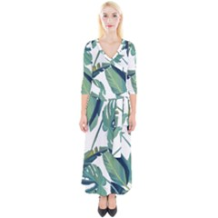 Plants Leaves Tropical Nature Quarter Sleeve Wrap Maxi Dress by Alisyart