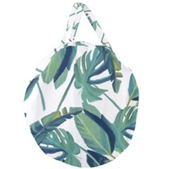 Plants Leaves Tropical Nature Giant Round Zipper Tote by Alisyart