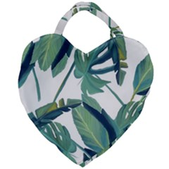 Plants Leaves Tropical Nature Giant Heart Shaped Tote