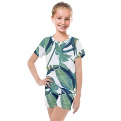 Plants Leaves Tropical Nature Kids  Mesh Tee And Shorts Set by Alisyart