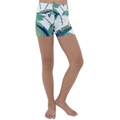 Plants Leaves Tropical Nature Kids  Lightweight Velour Yoga Shorts