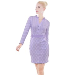 Circly Waves  Button Long Sleeve Dress