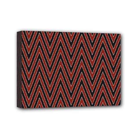 Pattern Chevron Black Red Mini Canvas 7  X 5  (stretched)