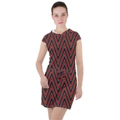 Pattern Chevron Black Red Drawstring Hooded Dress