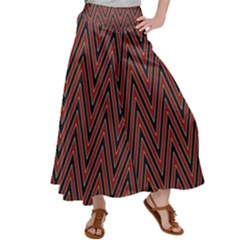 Pattern Chevron Black Red Satin Palazzo Pants by Alisyart