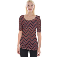 Pattern Chevron Black Red Wide Neckline Tee