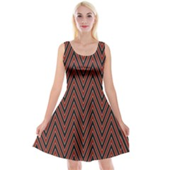 Pattern Chevron Black Red Reversible Velvet Sleeveless Dress