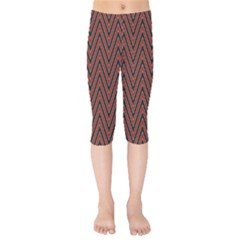 Pattern Chevron Black Red Kids  Capri Leggings  by Alisyart