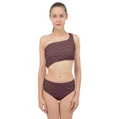 Pattern Chevron Black Red Spliced Up Two Piece Swimsuit