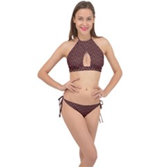Pattern Chevron Black Red Cross Front Halter Bikini Set