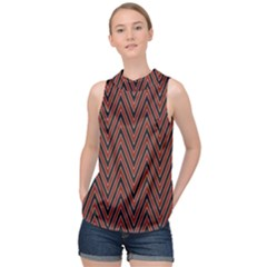 Pattern Chevron Black Red High Neck Satin Top by Alisyart