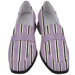 Classic Stripes  Women s Chunky Heel Loafers by TimelessFashion